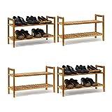 4 x Schuhregal Walnuss im Set, Schuhaufbewahrung stapelbar, Schuhablage mit je 2 Etagen, offen, je 6 Paar Schuhe, natur