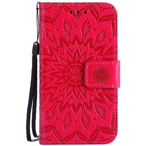 Uposao Kompatibel mit Handyhülle Galaxy Core Prime Leder Tasche Schutzhülle Brieftasche Handytasche Retro Vintage Henna Mandala Blumen Ledertasche Lederhülle Klapphülle Case Flip Cover,Rose Rot