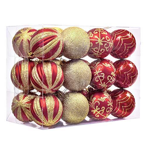 Valery Madelyn 24 Piezas Bolas de Navidad Rojas y Doradas, 60mm Bolas Brillantess y Mates Cada con Pintura Dorada Adornos Navideños para Árbol con Cadena Pre-Atados