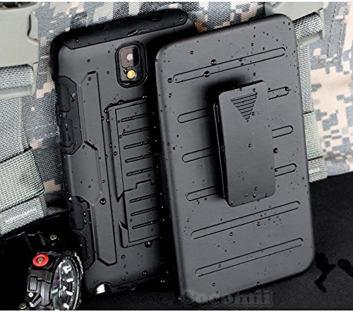 Galaxy Note 3 Hülle, Cocomii Robot Armor NEW [Heavy Duty] Premium Belt Clip Holster Kickstand Shockproof Hard Bumper Shell [Military Defender] Full Body Dual Layer Rugged Cover Case Schutzhülle Samsung N900 (Black)