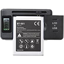 Home -Cargador Externo de bateria de movil universal con 1 USB extra y pantalla LCD indicadora de carga, sirve para Samsung Galaxy, Galaxy Note, LG, HTC,