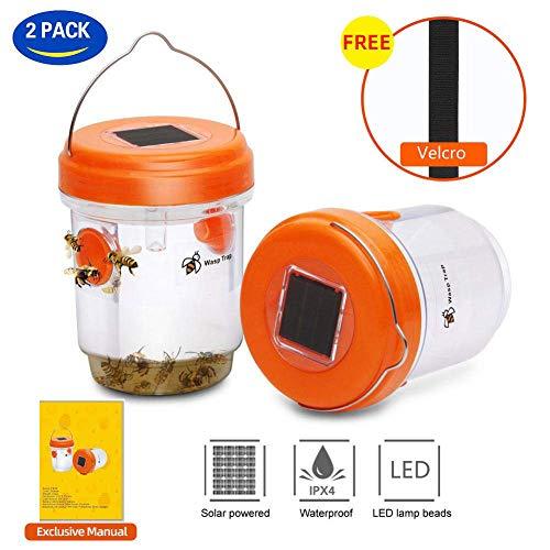 SEDUM 2 Pack 2019 Solarbetriebene Wespenfalle mit UV-LED-Licht | Bienenfallen, gelbe Jackenfallen und Wespenfallen für den Außenbereich, Wespenkiller - effektiv und wiederverwendbar (Orange)
