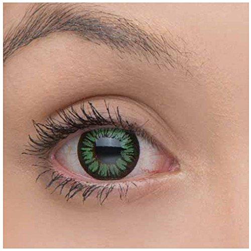 2 Grüne Kontaktlinsen ohne Stärke + 1 GRATIS Behälter JAHRESLINSEN farbige grüne Kontaktlinsen für alle (Kontaktlinsen Genial)