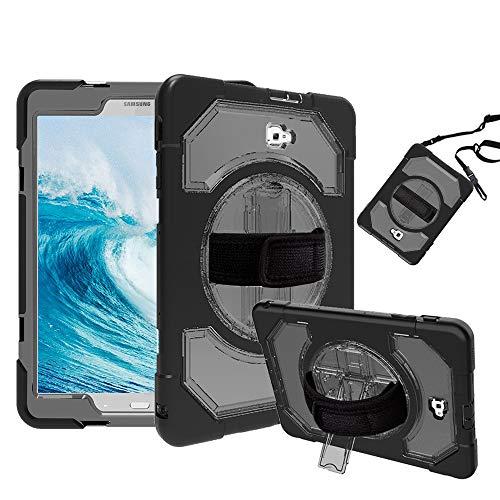 Schutzhülle für Samsung Galaxy Tab A 10.1, FAN SONG Silikon Robustes Stoßfestes Schutzgehäuse mit 360-Grad-Standfuß und Tragegurt für Galaxy Tab A 10.1 SM-T580N/T585N, Transparente Schwarz Galaxy Case Fan