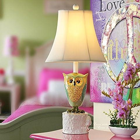 LLYY-Cartone animato per bambini in Europa e Asia sud-orientale del gufo uccello bella principessa da giardino Lampade da comodino di camera da letto button switch-LYA - Button Uccello