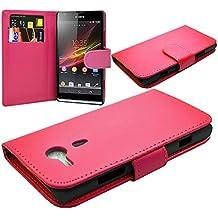 VCOMP® Housse Coque Etui portefeuille cuir PU pour Sony Xperia SP M35h C5302 C5303 C5306 - ROSE