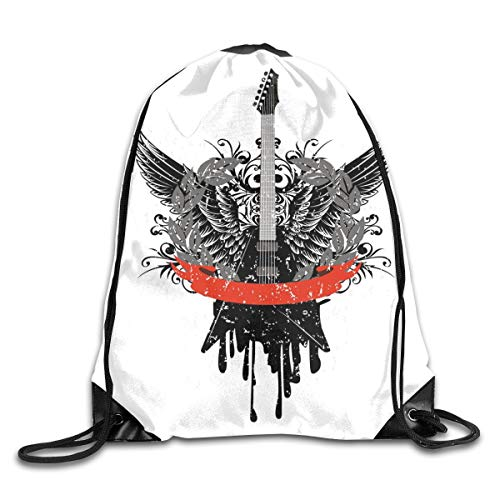 PPOOia Drawstring Backpacks Bags Daypacks,Guitar Wings Leaf Pattern Ribbon Color Dripping Electronic Instrument Design,5 Liter Capacity Adjustable for Sport Gym Traveling -