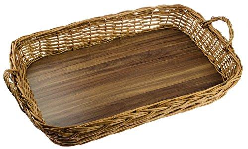 SIDCO ® Großes Tablett aus Weide Weidengeflecht Griffen Serviertablett Korbtablett Korb