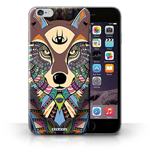 Coque en plastique pour iPhone 6+/Plus 5.5 Collection Motif Animaux Aztec - Loup-Cramoisi Loup-Couleur