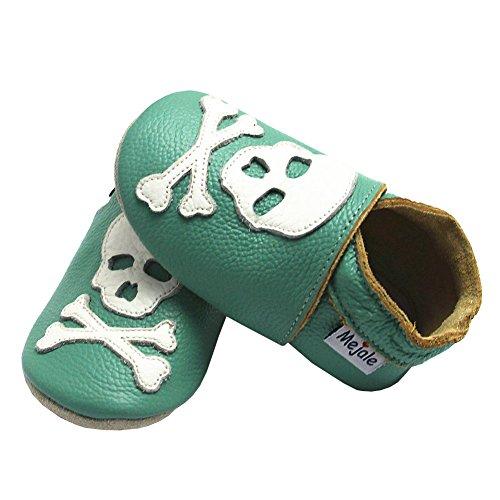 Mejale Caricature Cuir Chaussures Bébé Chaussons Bébé Chaussures Pour Enfants Chaussons Dessin animé Crâne Multi-couleurs Vert