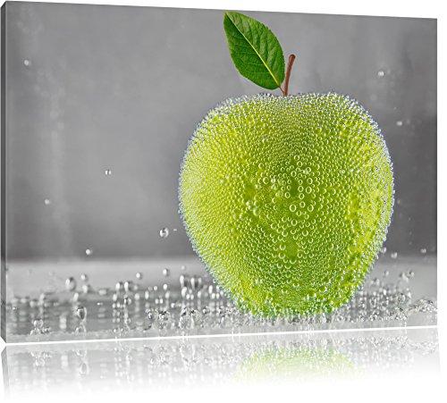 Apfel in Wasser grüner Apfel Obst Früchte Format: 100x70 cm auf Leinwand, XXL riesige Bilder fertig gerahmt mit Keilrahmen, Kunstdruck auf Wandbild mit Rahmen, günstiger als Gemälde oder Ölbild, kein Poster oder Plakat