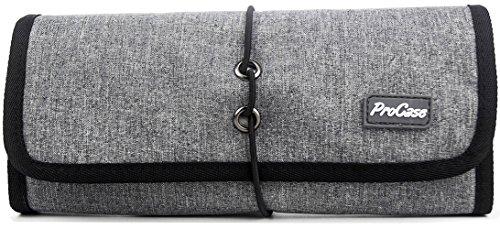 Gadget Tasche (ProCase Travel Gear Organizer Elektronik Zubehör Tasche, Kleine Gadget Tragetasche Aufbewahrungstasche Tasche für Ladegerät USB Kabel SD Speicherkarten Kopfhörer Flash Hard Drive -Grau)