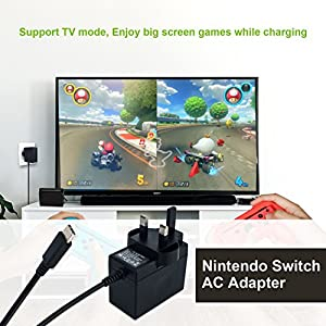 Nintendo Switch Charger, Nintendo Switch AC adapter Fast Travel Wall Charger with 5FT USB Type C Cable 15V/2.6A Power Supply for Nintendo Switch Supports TV Mode and Dock Station
