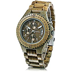GBlife BEWELl W115A Natural Wood Mens Watch Luminous Pointer Chronograph Date Display Wristwatch