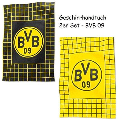 Borussia Dortmund Geschirrtuch / Küchentuch / Geschirr - Handtuch 2er Set BVB 09 - Rippstrick-muster