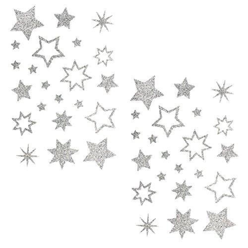 Oblique Unique® Stern Sticker Aufkleber Silber Glitzernde Funkelnde Sterne Mix - selbstklebend