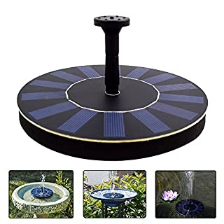 LATITOP Solar Water Fountain Pump Free Standing Floating with 4 Spray Heads for Different Water Flows, Perfect for Bird Bath, Small Pond and Fish Tank (1.4W)