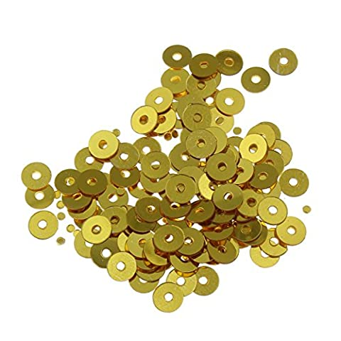 Pailletten Glatt Rund Perlen Ø 3mm 2400 Stk. und 4mm 1200 Stk. für Basteln Nähen Dekoration DIY Kleidung und Schmuck , Handwerk Metallic Sequin Farbauswahl (4mm, Gold)