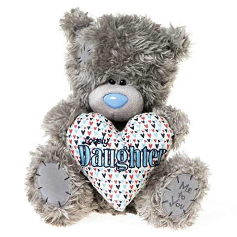 Me to You, Tatty Teddy, Grey Teddy Bear Holding A 'Lovely Daughter' Heart Shaped Cushion, Sits 9