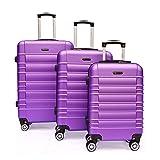 SHAIK SerieCLASSIC JFK Design Hartschalen Trolley, Koffer, Reisekoffer 4 Doppelrollen Zwillingsrollen, Zahlenschloss (Set, Lila)