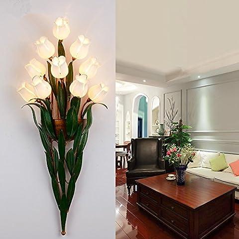 LFNRR américaine Bougie Miroir Applique Lampe Continental Escalier Salon Corridor Le couloir chinoisÉclairage La lampe Chambre Miroir C