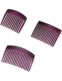Sarah Plastic Hair Comb For Women - Pink , Pack Of 3, Small, Medium & Large