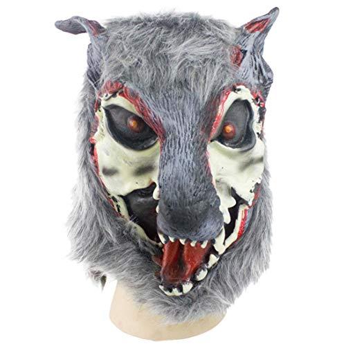 (YunYoud Wolf Maske Latex Tier Kostüm Prop Halloween und Claws Zombie Blut Horror Kopfbedeckung Fasching Gesichtsmaske Skeleton Schädel Metallisch glänzend Totenkopf Bandana)