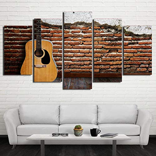 en Poster HD Gedruckt Bilderrahmen 5 Stücke Gitarre Musikinstrument Leinwand Malerei Modulare Wandkunst Wohnkultur Studie ()