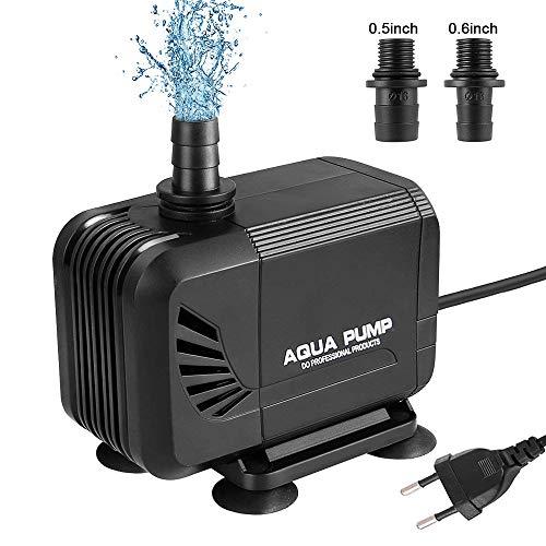 mixigoo Wasserpumpe Tauchpumpe, 1500 L/H 15W Ultra-Quiet Teichpumpe, Aquariumpumpe für Aquarium Teich, mit 1.6M Netzkabel und 2 Düse 13mm/16mm