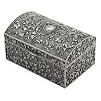 AVESON Rectangle Vintage Metal Jewelry Box Jewellery Trinket Gift Boxes Organiser Chest Ring Case for Girls Ladies Women, Antique Tin Colour