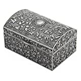 Aveson Boîte à bijoux rectangulaire en métal de style vintage, cadeau pour fille et femme, couleur étain vieilli
