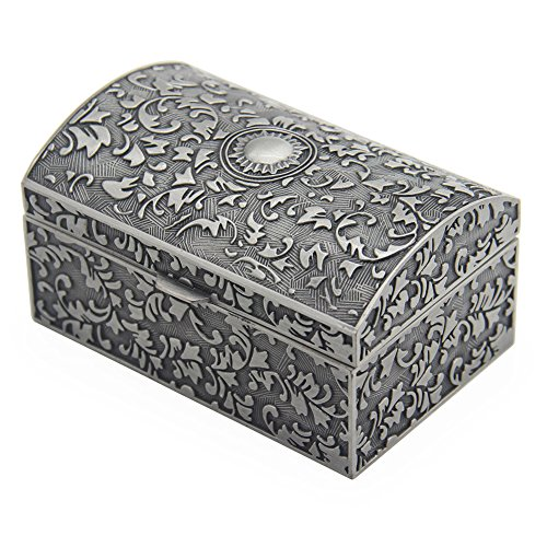 aveson Rechteck Vintage Metall Jewelry Box Schmuckschatulle Geschenk-Boxen Organizer Brust Ring Fall für Mädchen Damen Frauen, antik Zinn Farbe az0066