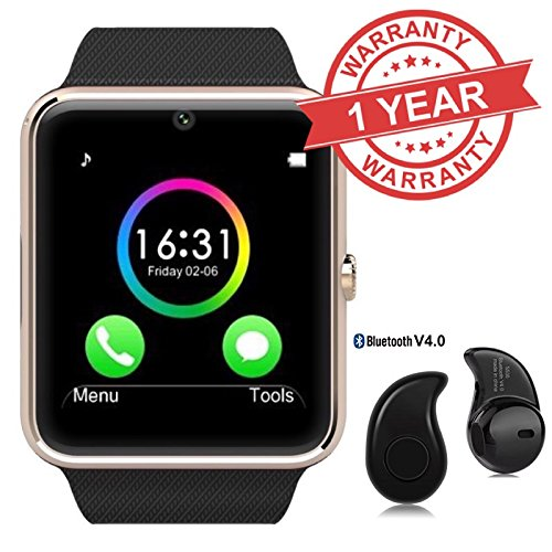 Premium Design Oppo Neo 7 4G Compatible Bluetooth Smart Watch GT08 Phone With Camera and Sim Card & SD Card Support with free Bluetooth Headset (Random Colour)
