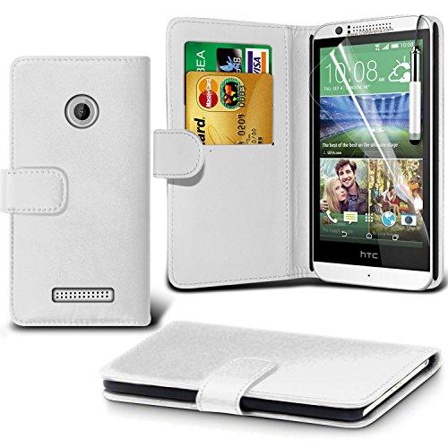 ( White ) HTC Desire 510 High Quality Fit Book PU-Leder Geldbörse Flip Mit 2 Kredit- / Debitkartensteckplatz-Fall-Haut-Abdeckung mit LCD-Display Schutzfolie, Reinigungstuch & Mini Retractable Stylus Pen von i-Tronixs Lcd-haut