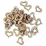 Kingstons 50x Herz-Verzierungen zum Basteln, Holz, Cut-Out-Design ,30 mm