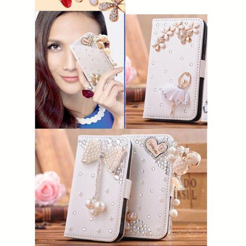 D9Q 3D Strass PU Leder Flip Wallet Case Skin Tasche Protector für iPhone 4 4S Fall Hülle !!Stil C