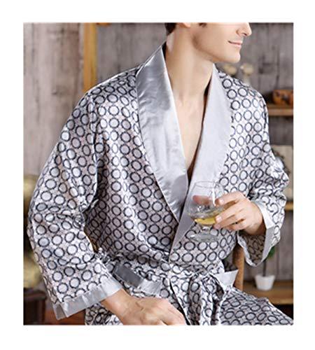 Männer Seide Langarm Bademantel Plus Größe 5XL Kimono Home Badekleid Männlich Gedruckt Geometrische Roben V-Ausschnitt Satin Nachtwäsche Nachthemd (Plus Größe Bademantel Seide)