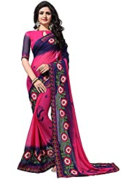 Fab Valley Women Georgette Embroidery Saree With Blouse Piece (Multi Color)
