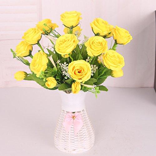 petsola Künstlicher Rosenstrauß Kunstblumen Strauß Künstliche Rose Blumen Kunstrose - Gelb, 35cm (Künstliche Gelbe Rosen)