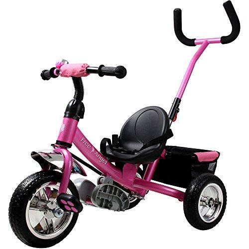 Tricycle rose pour enfant - Avec barre à pousser Vélo 3 roues Tricycle - Fille