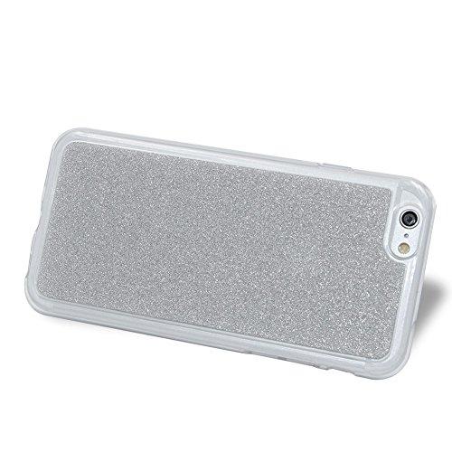Für iPhone 6/6S 4.7 Zoll Schrittweise Farbwechsel TPU Cover, Herzzer Bling Glitter Schutz Hülle mit Liebe Herzen Ring Halter, Luxus Sparkles Glänzend Glitzer Silikon Crystal Case Durchsichtig Soft Rüc Silber
