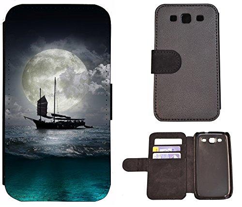 Schutz Hülle Flip Cover Handy Tasche Etui Case für (Apple iPhone 5 / 5s, 1072 Totenkopf Carton Basecap) 1070 Schiff Ozean Mond