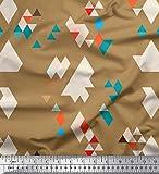 Soimoi Braun Georgette Viskose Stoff geometrisch abstrakt