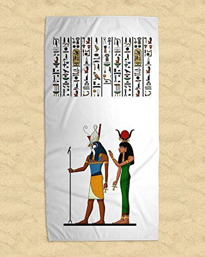 Ägypten Handtuch mit Isis Osiris Hathor Horus Sachmet Ptah Maat Thot Selket Re und Original Hieroglyphen aus dem Grab der Nefertari