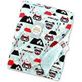 Baby Bucket Double Layer Velvet Fleece Newborn Printed Baby Blanket (LGRN+LBLUE)