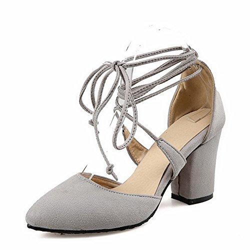 VogueZone009 Donna Plastica Punta Chiusa Scarpe A Punta Tacco Alto Allacciare Puro Ballerine Grigio