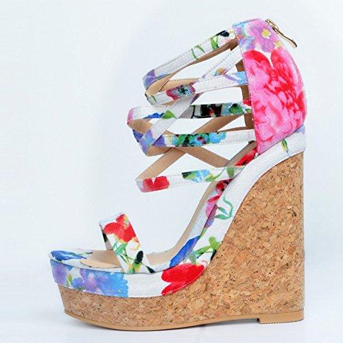Kolnoo Femmes Handmade 15cm Wadge talon Zipper Ankle Strap fleur en cuir Sandales Chaussures white