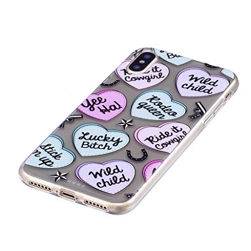 """Hülle für Apple iPhone X , IJIA Transparente Rot Wassermelone TPU Weich Silikon Stoßkasten Cover Handyhülle Schutzhülle Handytasche Schale Case Tasche für Apple iPhone X (5.8"""") LF5"""