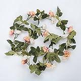 luyue 210cm Portable Angelrute, Spinnrute Rose Blume Garland Künstliche Seide Blume Vine Garten Hochzeit Art Decor, 1Stück Pudding