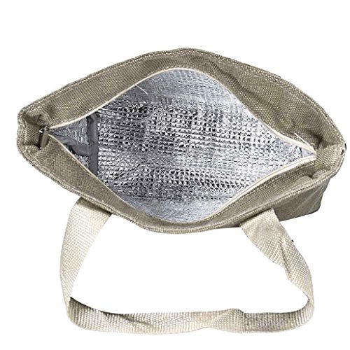 Winkey Sac à déjeuner, portable, sacs de congélation Sacs à lunch pratique déjeuner des paquets, Toile, marron, 31cm*11cm*23cm